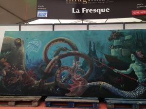 La fresque du festival, achevée dimanche après-midi